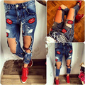 Women Lip Pencil Stretch Skinny Denim Jeans Faded Ripped Pants High Waist Jeans Adventure Time Gothic Leggings Pants Trousers