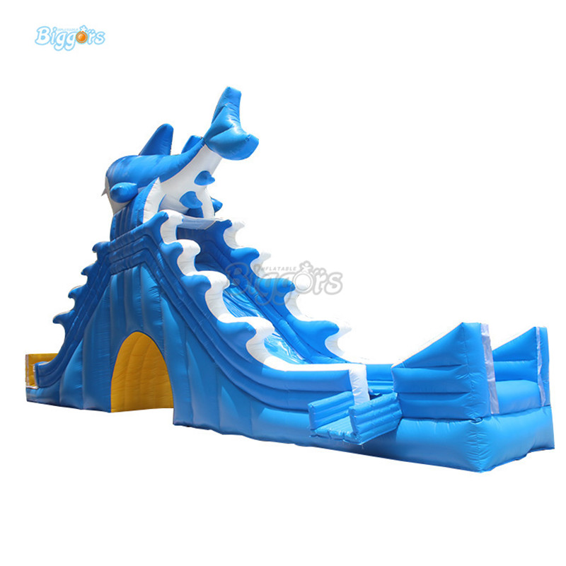 Giant Inflatabale water slide pool inflatable water Dolphin slide with blowers factory price giant big inflatable water slide with pool game on sale