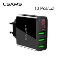 10 Pcs Lot USAMS 3 Ports USB Phone Charger LED Display Max 2 4A Smart Fast