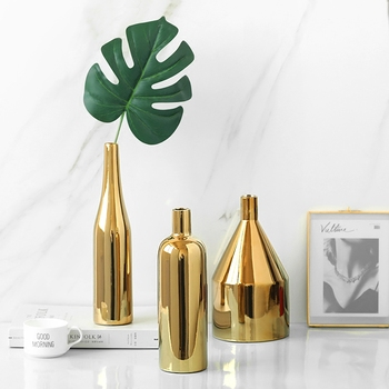 Modern Gold Plated Flower Vase