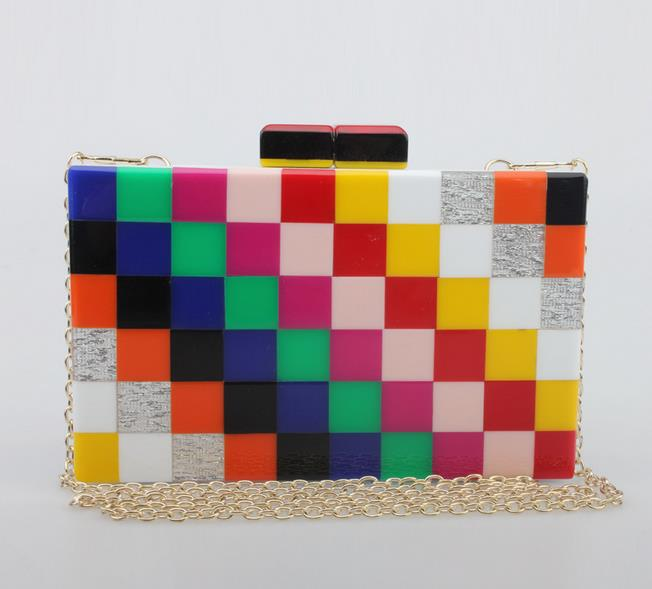ФОТО 2016 new design good quality acrylic colorful plaid mini clutch evening bag ladies shoulder bag flap personality messenger bag