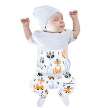 Mode Pasgeboren Baby boy Kleding Set Peuter Baby Jongens Korte Mouwen Fox Print T-Shirt Top Broek Outfits Set dropshipping(China)