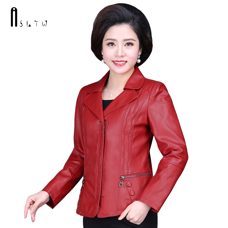 ASLTW PU Leather Coat Women New Spring and Autumn Turn Down Collar Jacket Solid Plus Size