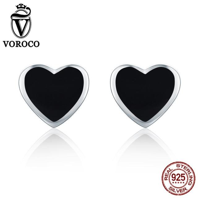 VOROCO Sveglio Piccolo Cuore Nero Authentic 925 Sterling Silver Smalto Orecchini Per Le Donne Ragazze Gioielli oorbellen VSE112