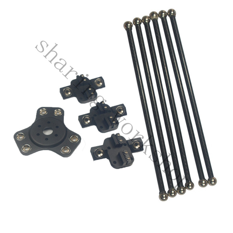 DIY 3D printer Delta kossel XL black color magnetic 3pcs carriage+1pcs effecto+6pcs 300mm carbon tube Diagonal push rodts kit