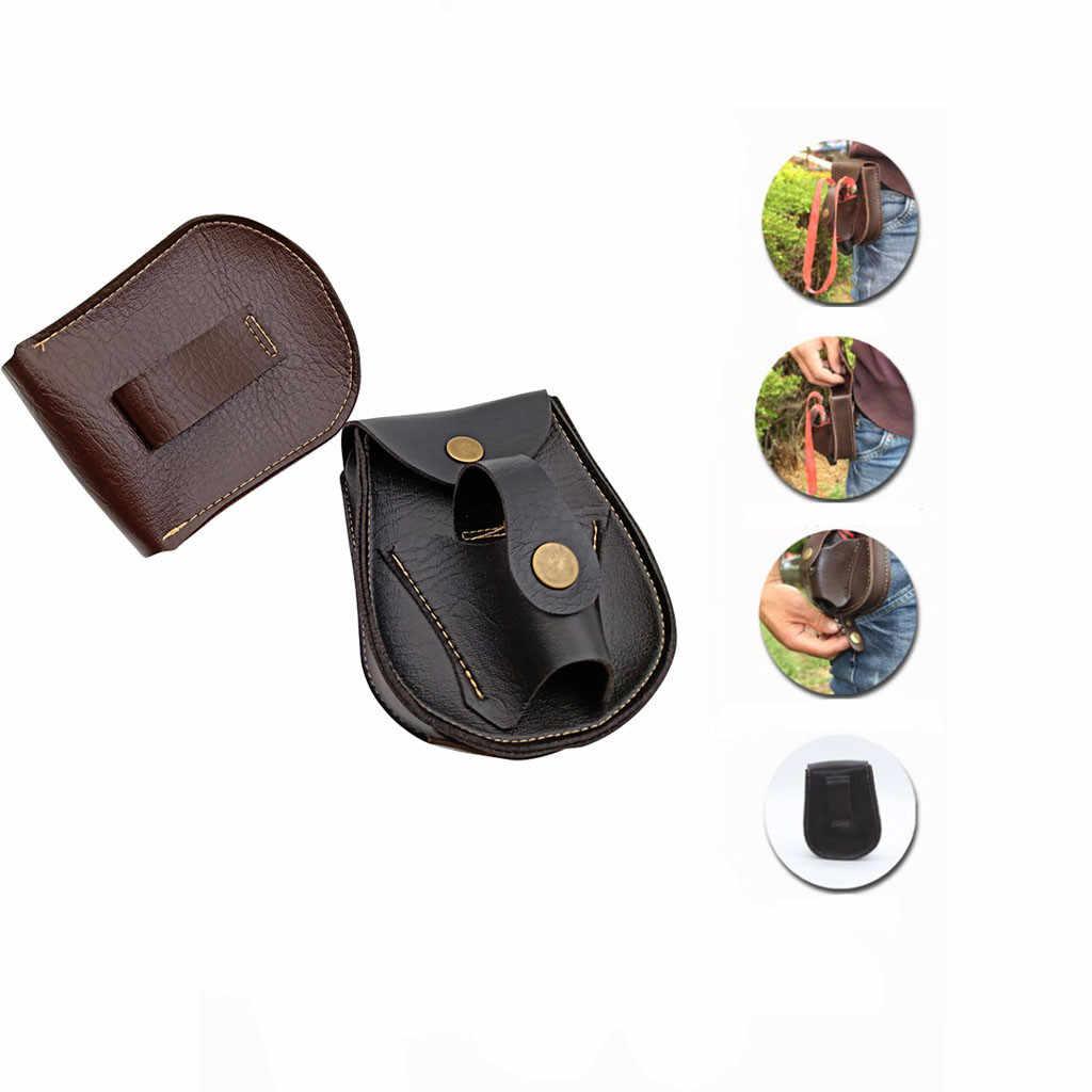 Bolsa de almacenamiento de artículos pequeños de cuero hecha a mano resistente a los arañazos bolsa de cuero de bola de acero al aire libre