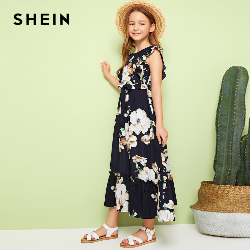 SHEIN Kiddie Girls Floral Print Ruffle Hem Armhol Boho Dress With Belt Kids 2019 Summer Holiday Sleeveless A Line Long Dresses(China)