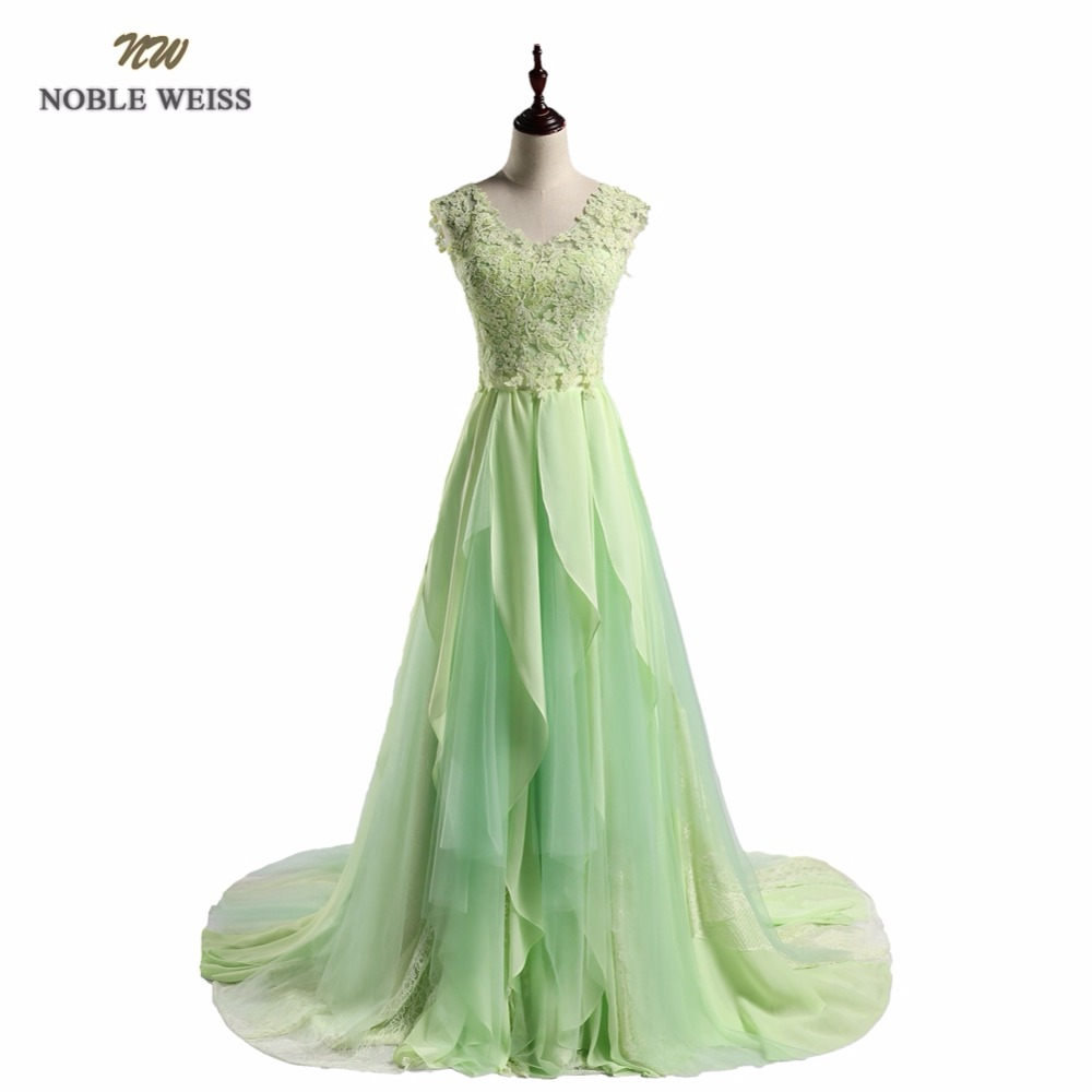 NOBLE WEISS Two Pieces Evening Dress Green Lace Chiffon A-Line Prom Dresses Robe De Soiree Party Dress With Court Train