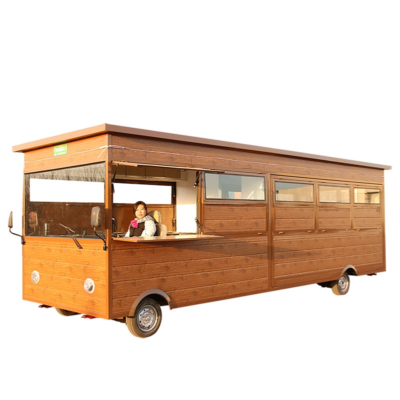 Hot Sale Retro Electric Food Truck Mobile Lengthen Food Cart Snack Trailer For Sale