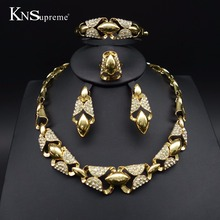 Dubai African Beads Jewelry Set gold-color Wedding Bridal romantic woman exaggerate Necklace Earring bracelet jewelry set