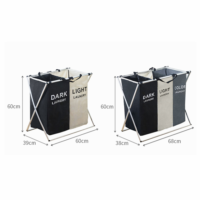 X-Shape Foldable Home Multi-Compartment Laundry Basket