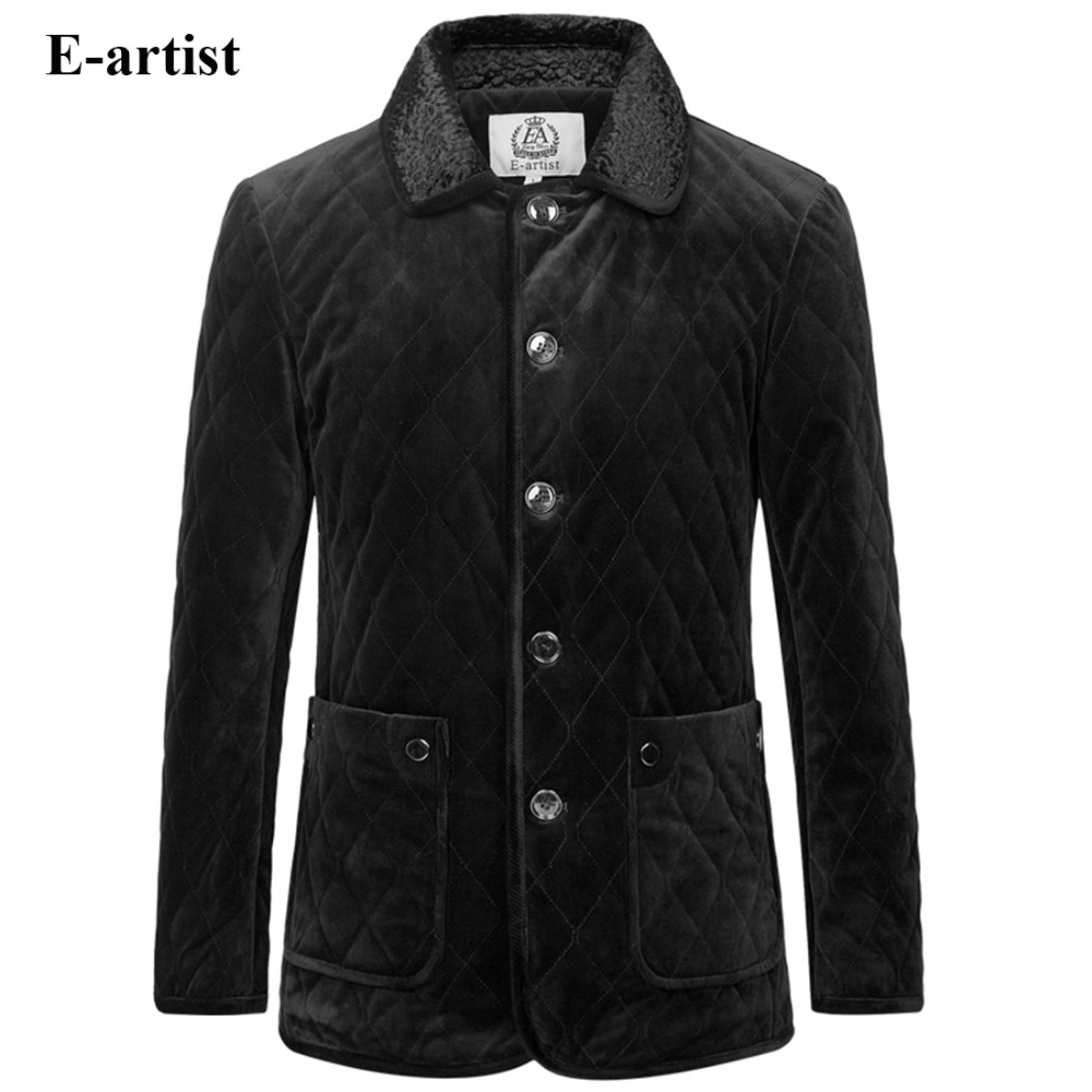 E-artist Men's Velvet Padded Jackets Coats with Fur Collar Male Casual Winter Parkas Thick Outwear Overcoats Plus Size 5XL A67 e artist men s long winter jacket velvet padded jackets trench coats parka thick fit casual outdoor black wine plus size 5xl a65