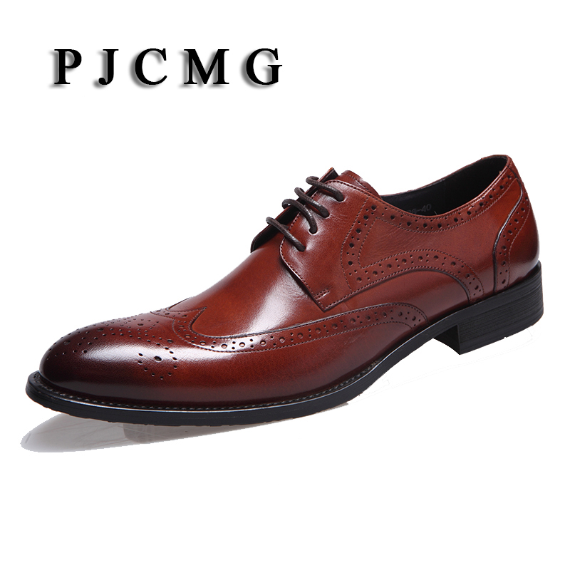 PJCMG High Quality Large size EUR44 fashion mens wedding Black/Red Flats Business Genuine Leather Mens Dress Formal Shoes top quality crocodile grain black oxfords mens dress shoes genuine leather business shoes mens formal wedding shoes