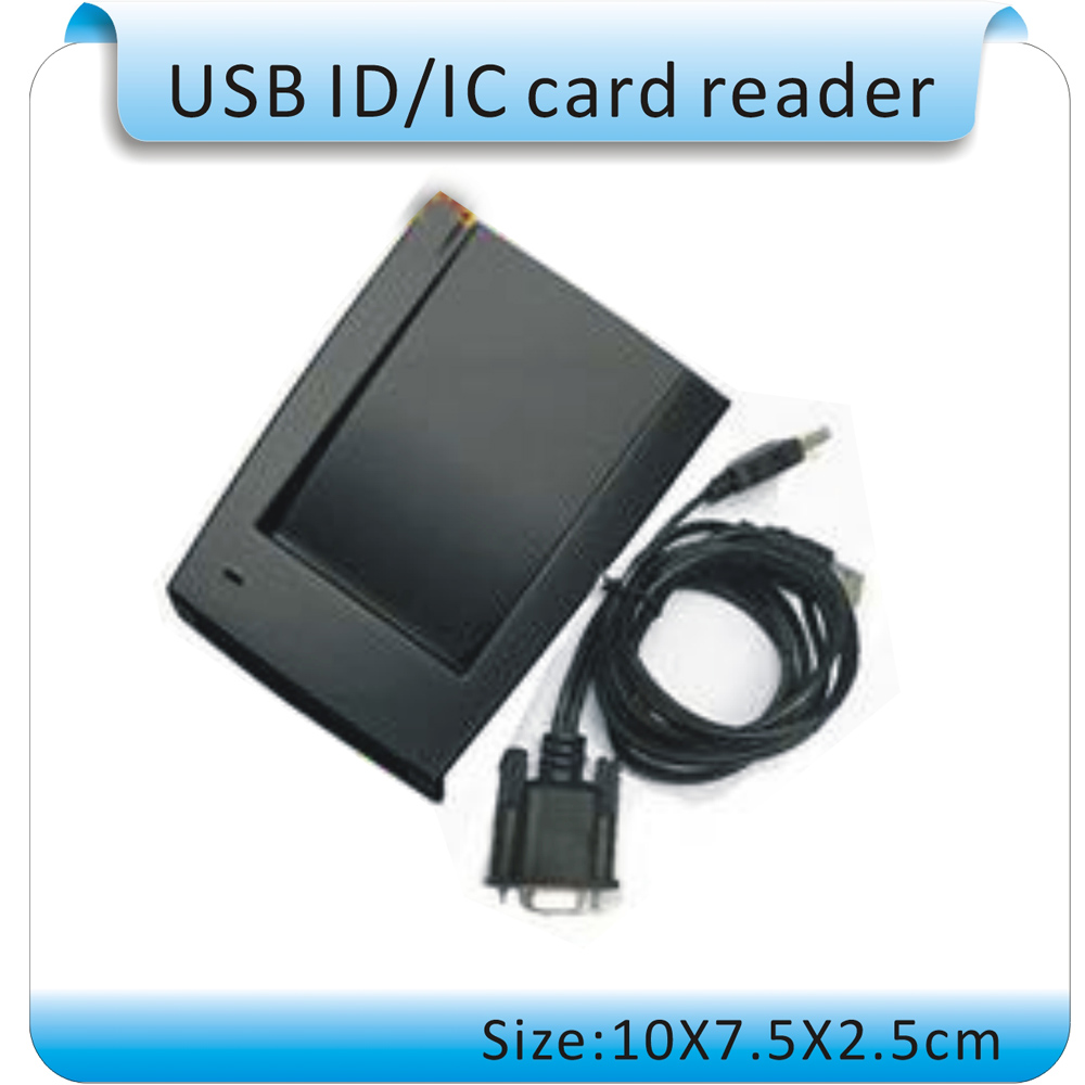 Free shipping Production 125KHZ Frequency RFID reader RS232 port, RS232 RFID reader USB to take power+5PCS Card