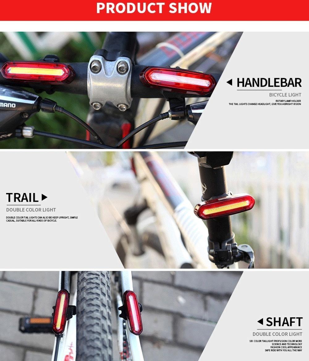 ZOLi ZL1219 Road Mountain Bike Tail Light USB Charge LED Warning Light bike light