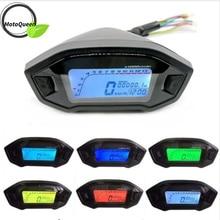 ユニバーサルオートバイ液晶デジタル 13000rpm スピードメーターバックライトモータサイクル 2 4 シリンダー走行距離ドロップシッピング