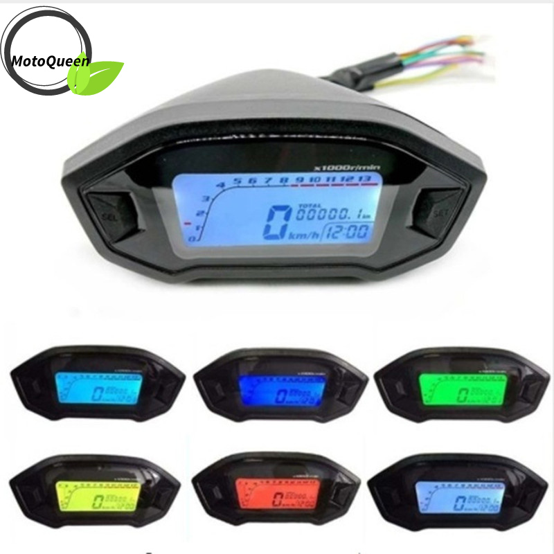 Universal Motorcycle LCD Digital 13000rpm Speedometer Backlight Motor cycle for 2 4 Cylinders meter Odometer Dropshipping-in Instruments from Automobiles & Motorcycles