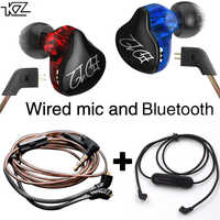 Bluetooth cable and KZ ED12 earphone cable detachable with microphone earphones 2 cables set for mucis sport phones stereo bass