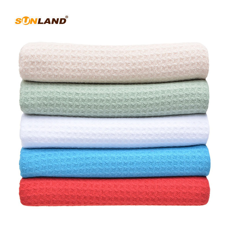 Sinland Microfiber Towel Waffle Weave Design Ultra Absorbent and Soft Hair Drying Towel Body Swimming Bath Towel 20Inchx40Inch
