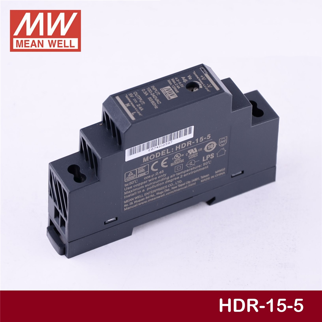 MEAN WELL HDR-15-5 5 V 2.4A meanwell HDR-15 15 W salida simple Industrial DIN Rail alimentación