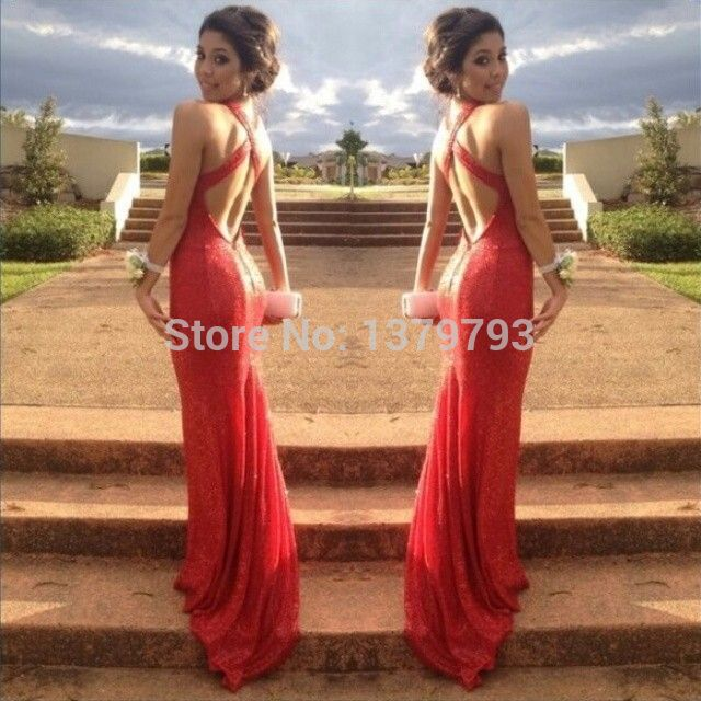 049f0c5e568f Sparkly Red Sequined Lace V Neck Shoulder Strap Cross-criss Back Sleeveless  Open Back Mermaid Sexy Red Prom Dresses