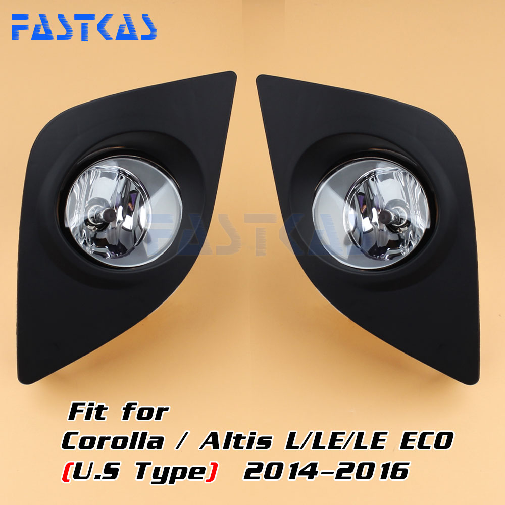 Car Fog Light for Toyota Corolla /Altis L/LE/LE ECO 2014 2015 2016 Left & Right Fog Lamp with Switch Harness Covers Fog Lamp Kit lr043985 new rear and left car fog lamp without bulb for range rover sport 2014 automobile fog light with high quality supply