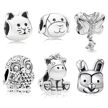 Devoted Dog Unicorn Owl Butterfly Charms Beads Fit Pandora Bracelet & Necklace Animal Friendship Jewelry DIY Making