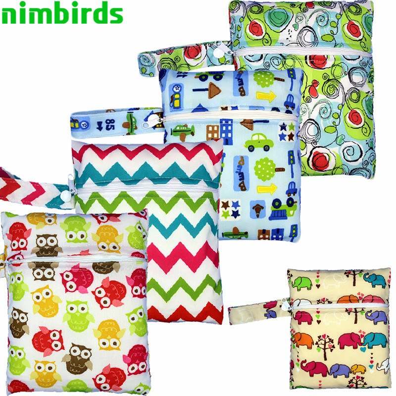 5 PCS Reusable Nursing Pads Washable Wet Bags Nappy Bags Single Zippers Sanitary Pads Printed Waterproof  Wetbag Bags 16*20cm