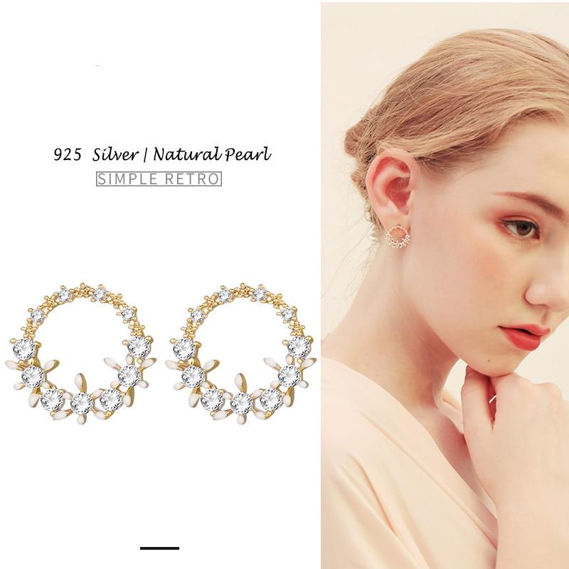 Shineland 2018 New Gold Silver 925 Stud Earrings Women Simple CZ Post Earring Trendy Retro Circle Earring Piercing for Gift цена