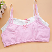 2016 High Quality Developmental Girls Cotton Bra Training Bra Wire Free Children Summer Sports Bra underwearSN0037