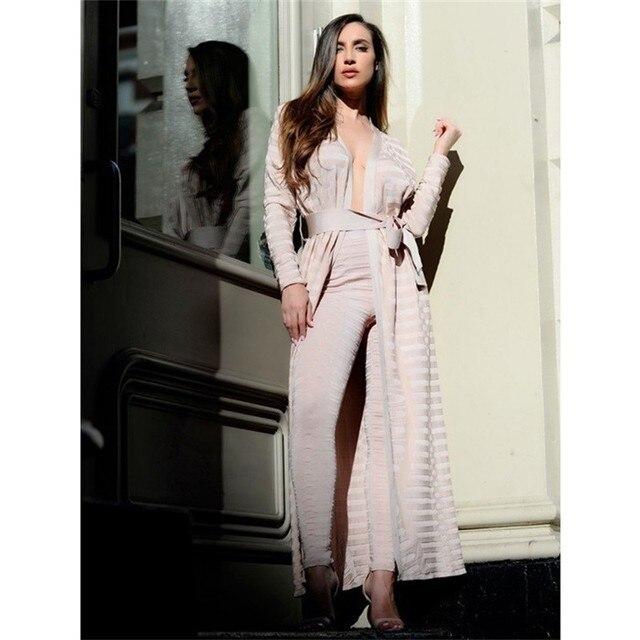 2016 Outono Nova Venda Quente Casaco Manto Das Mulheres Moda Bandage Bodycon Partido Celebridade Lady Casaco de Damasco Preto verde-Oliva atacado