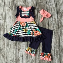 Bébé filles D'été printemps vêtements filles vêtements enfants floral stripe tenues à volants capri tenues avec bandeau assorti