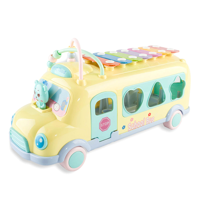 1pcs Multifunction Montessori Early Educational Car Toys Baby Learning Music 5 In 1 Bus Plastic Blocks Round Beads Kids Gift