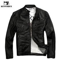 Kenntrice Genuine Leather Jacket Men Coats Genuine Sheepskin Brand Black Male Motorcycle Leather Jacket Winter Coat cheap Kenntrice Kennedy Nepalese Nuys Short Full STANDARD NONE Slim Smart Casual COTTON Button ZH031 Mandarin Collar zipper Solid