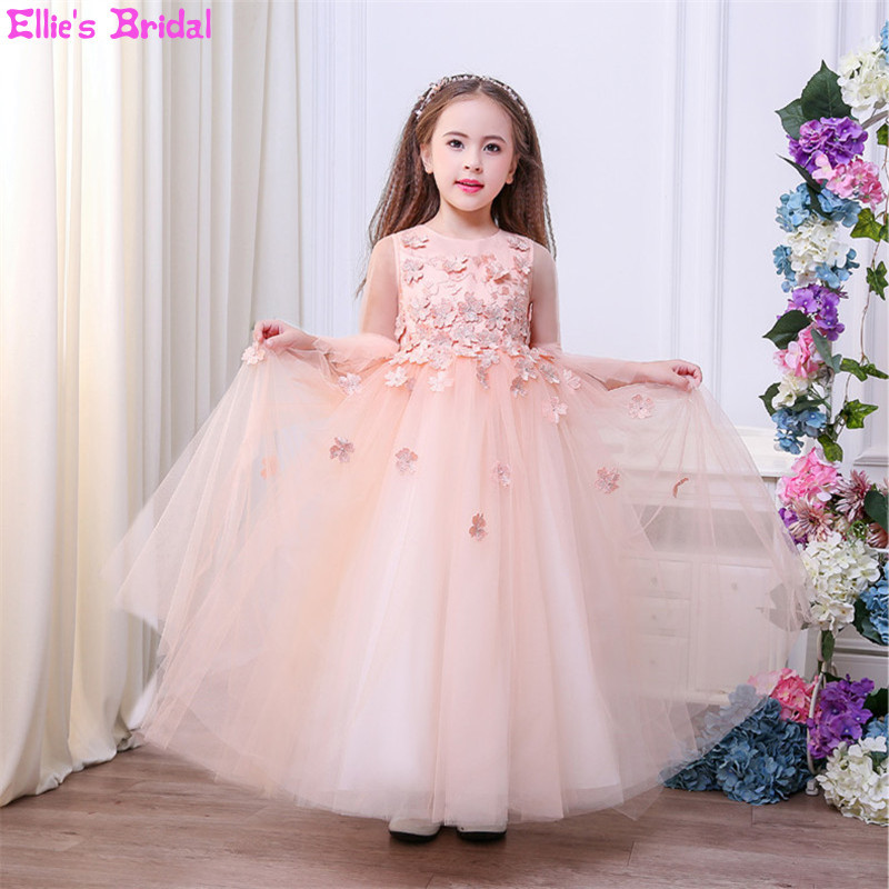 Pink Flower Girl Dresses Long Flare Sleeve Girls Tulle Party Princess Dress Kids Wedding Pageant Formal Ball Gowns Dress Custom 2017 kids girls wedding flower girl dress princess party pageant formal dress crossed back sleeveless lace tulle dress 2 14y