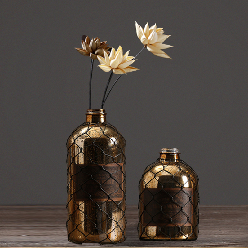 American rustic retro electroplate glass vase vintage for Idee deco retro chic