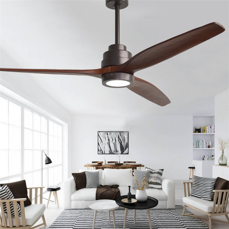 American Retro  LED Ceiling Fan For Living Room 110V/220V Wooden Ceiling Fans With Lights 60 Inch Blades Cooling Fan Remote Fan