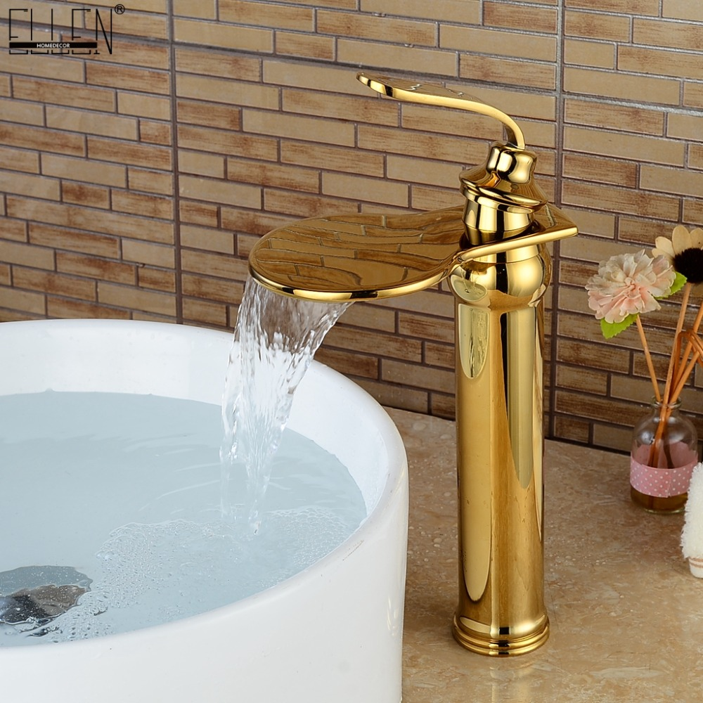 Bathroom Tall Faucets Gold Waterfall Bath Sink Water Mixer Golden Basin Faucet Hot and Cold Deck Mounted ELS1503G deck mounted bathroom tall sink faucet cold