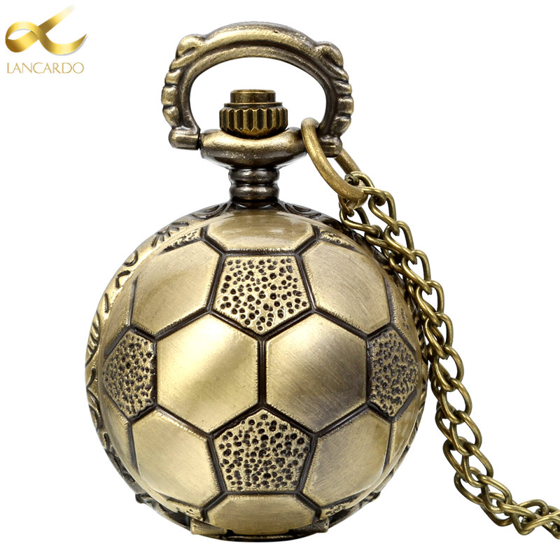 Lancardo Fashion Brown Unisex Vintage Football Pendant Antique Necklace Pocket Watch Gift High Quality Relogio De Bolso 2016 new fashion pocket watch unisex necklace clock watch y102596