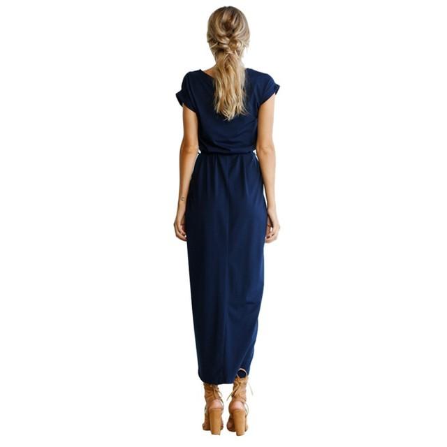 Casual Women Short Sleeve Summer Dress Irregular Straps and split Loose Sexy Dress With a Belt