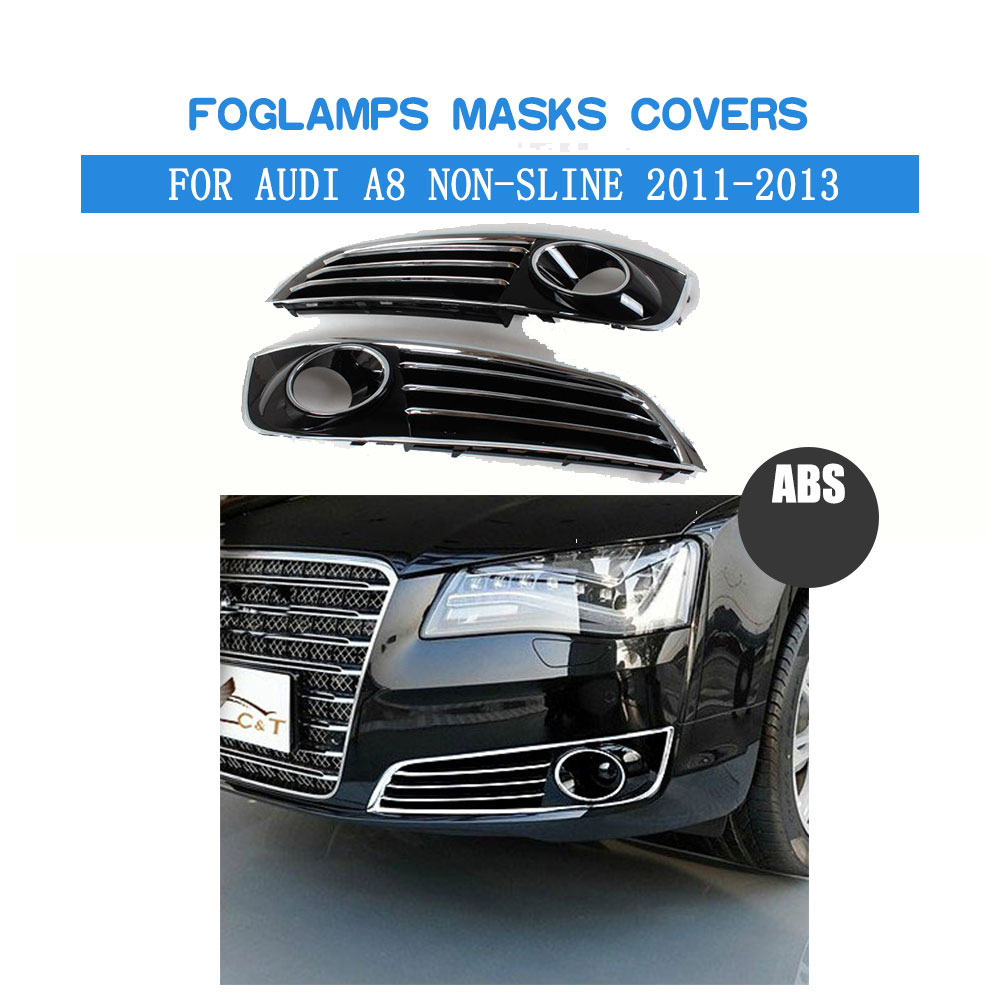 ABS Front Fog Light Covers Lamp Masks Fit For <font><b>Audi</b></font> <font><b>A8</b></font> Non-Sline Bumper 2011-2013 Car Tuning Parts image