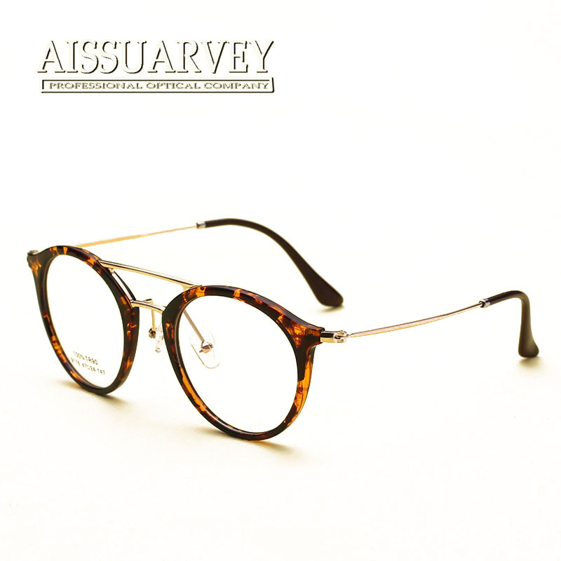 f33a6e21bd39 Vintage Round Metal Korean Eyeglasses Double Bridge Optical Eye Glasses  Frame Prescription Clear Lenses Small Classic