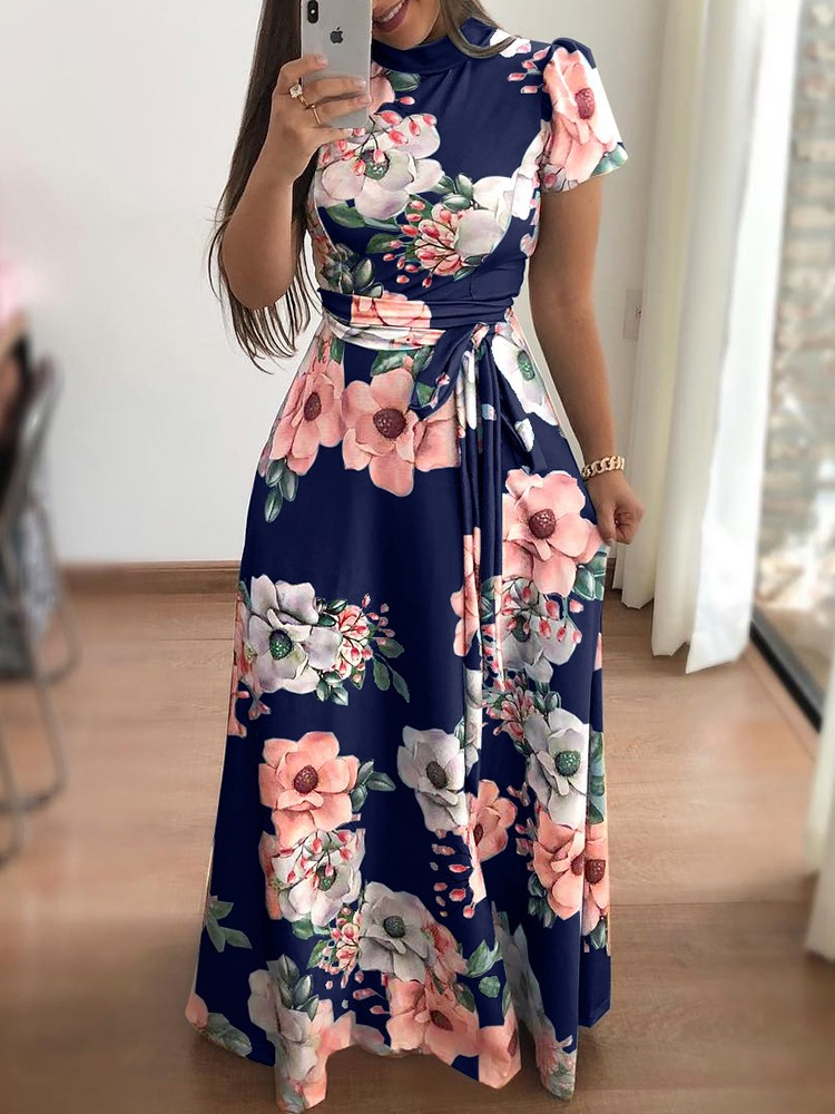 Summer Short Sleeve Evening Party Dress Women Floral Print Long Maxi Dress Boho Beach Dress in Dresses from Women 39 s Clothing