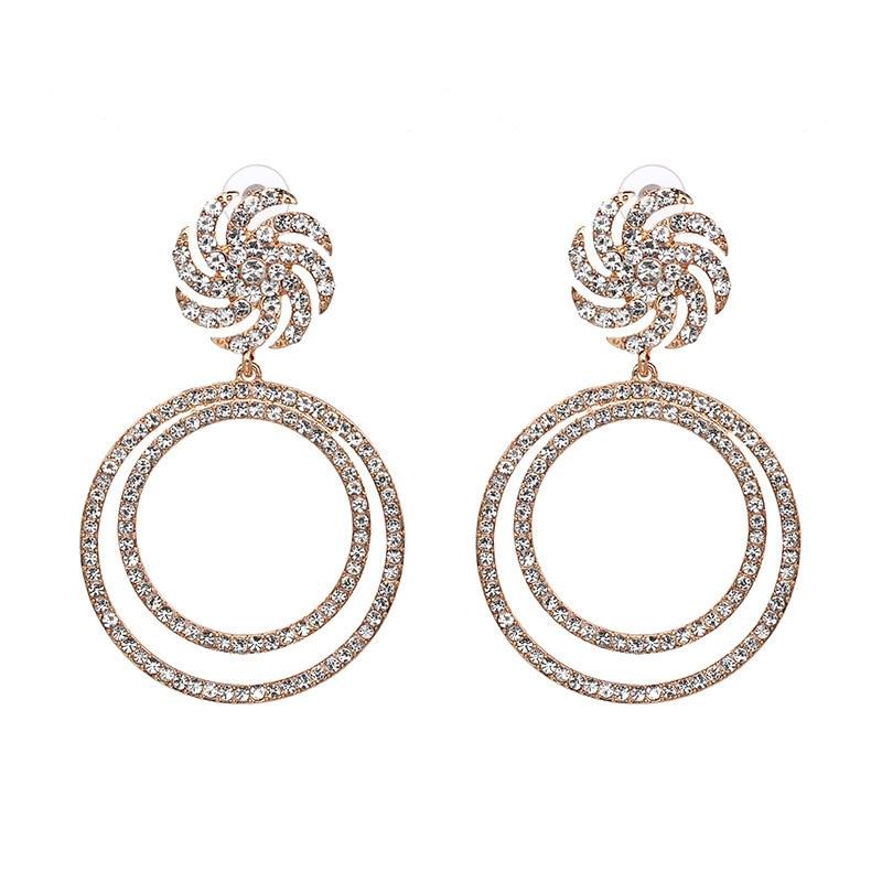 personality fashion earrings crystal round drill retro earrings trendy earrings vintage rhinestone bohemian jewelry in Drop Earrings from Jewelry Accessories