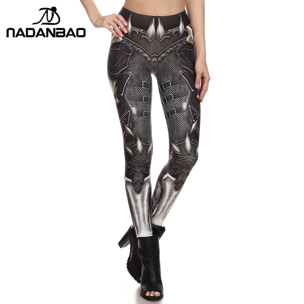 NADANBAO New Design Leggings Women Skeleton Pattern Color Fitness Leggins Slim High Waist Elastic Trousers Pants Legins
