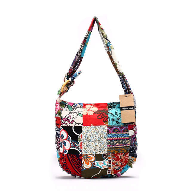 Designer Women Shoulder Bag Cotton Fabric Handbags Large Capacity Hippie Hobo Bags Floral Patchwork Crossbody Messenger Bag 3