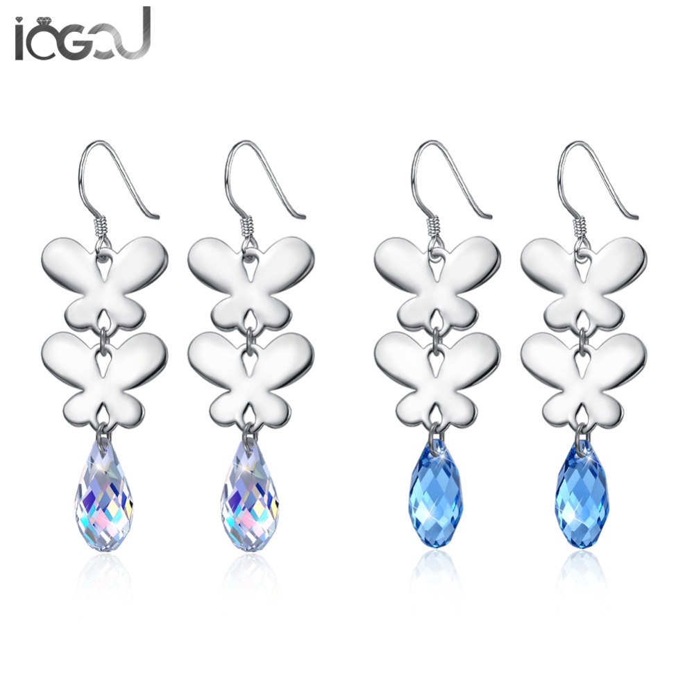 IOGOU Butterfuly 925 Sterling Silver Crystal From