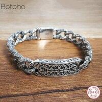 Bracelet 100% Genuine 925 Sterling Silver Friendship Men's Jewelry Wide Vintage Bracelet Bracelet Women Gifts High Jewelry 2019
