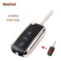 OkeyTech 3 Button 315Mhz ID 48 Chip Flip Folding Modified Remote Control Auto Car Key Fob for VW Volkswagen Passat DJ Remote Key