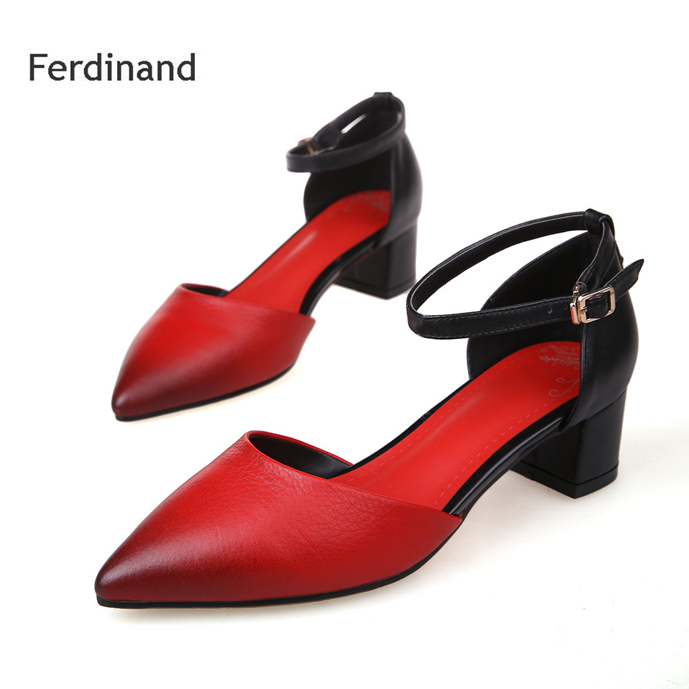 New fashion Red women sandals Buckle Pointed toe Genuine Leather Square heel Summer solid color women party shoes size 4~10 women genuine leather sandals fashion pointed toe causal shoes buckle solid color black pink orange spring shoes square heel